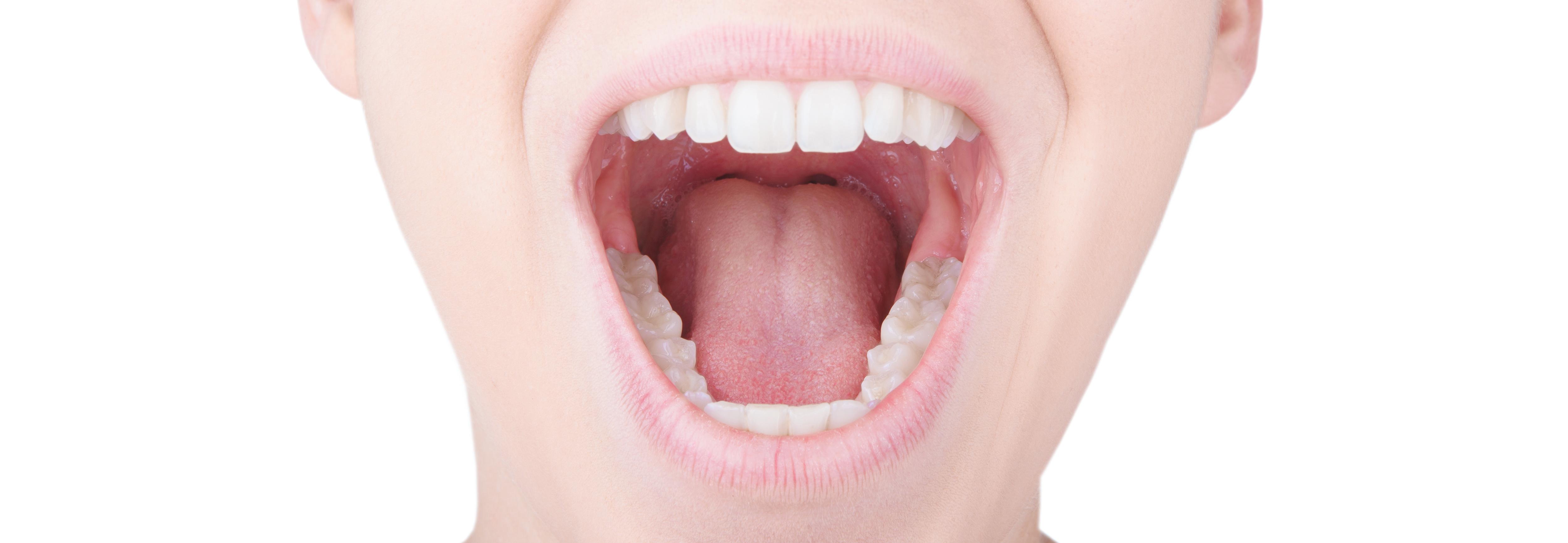 Bocca aperta con denti bianchi e lingua